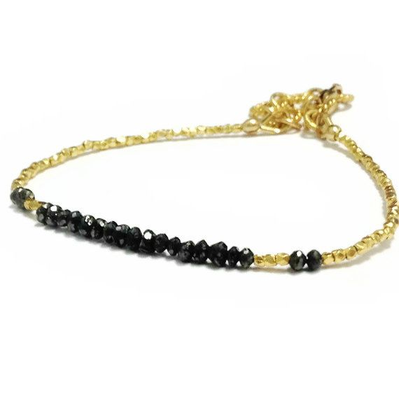 Black Diamond Bracelet 24K Gold Vermeil by jewelrybycarmal on Etsy, $205.00