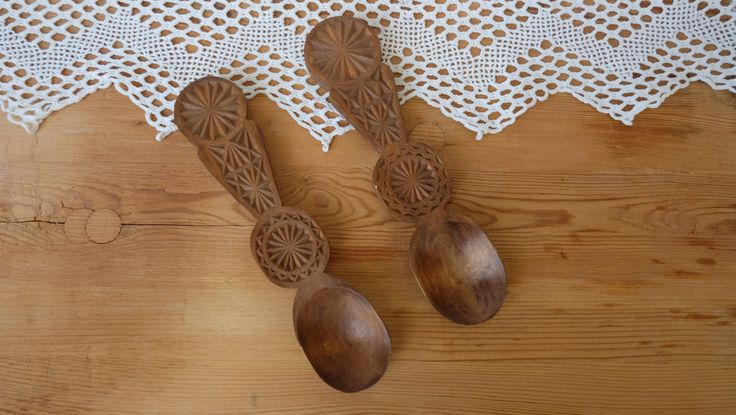 Wooden Spoons, 2 Hand Carved Folk Art, Antique, Primitive Wood Craft, Decorative Soviet Retro Wood Ladles, Rustic Kitchen Art,Cooking Spoons by RAGMAN770 on Etsy
