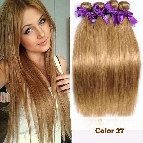 1 Bundles/100g Honey Blonde #27 Straight Brazilian Remy Human Hair Weave Weft Extensions weft hair