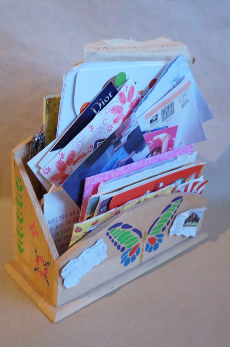 Porte courrier porte courrier en bois acrylique pinceau tampon pochoir