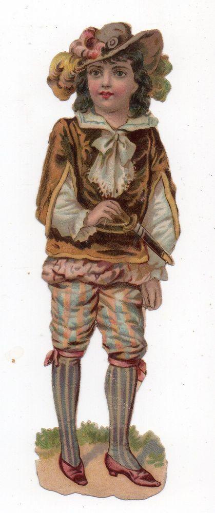 Chromo découpi die cut oblaten glanzbild scrap -  Garçon en costume  13,5 cm