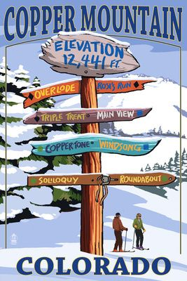 Copper Mountain, Colorado - Ski Signpost - Lantern Press Poster