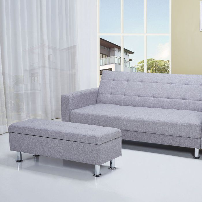 Add a touch of contemporary style to your parlor or living room ensemble with this clean-lined sofa, featuring a convertible sleeper design and gently tufted details. Is streamlined silhouette blends effortlessly into both casual or formal aesthetics while its metallic legs add a touch of shimmer to your decor. Lean into this piece's contemporary influence by adding it to a living room seating group comprised of faux-leather barrel chairs and deep-tufted loveseats for a cozy and cohesive ...