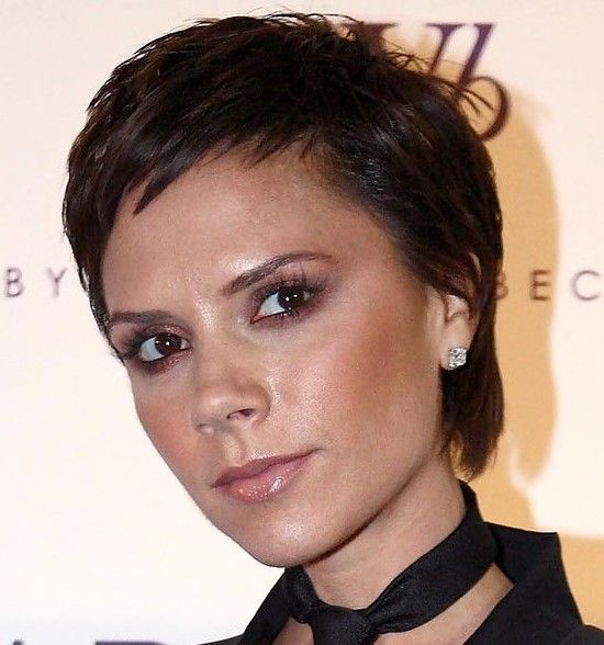 Victoria Beckham's short boy-cut. A volumized boy-cut hairstyle is created by adding firm hold mousse to the body of the hair.