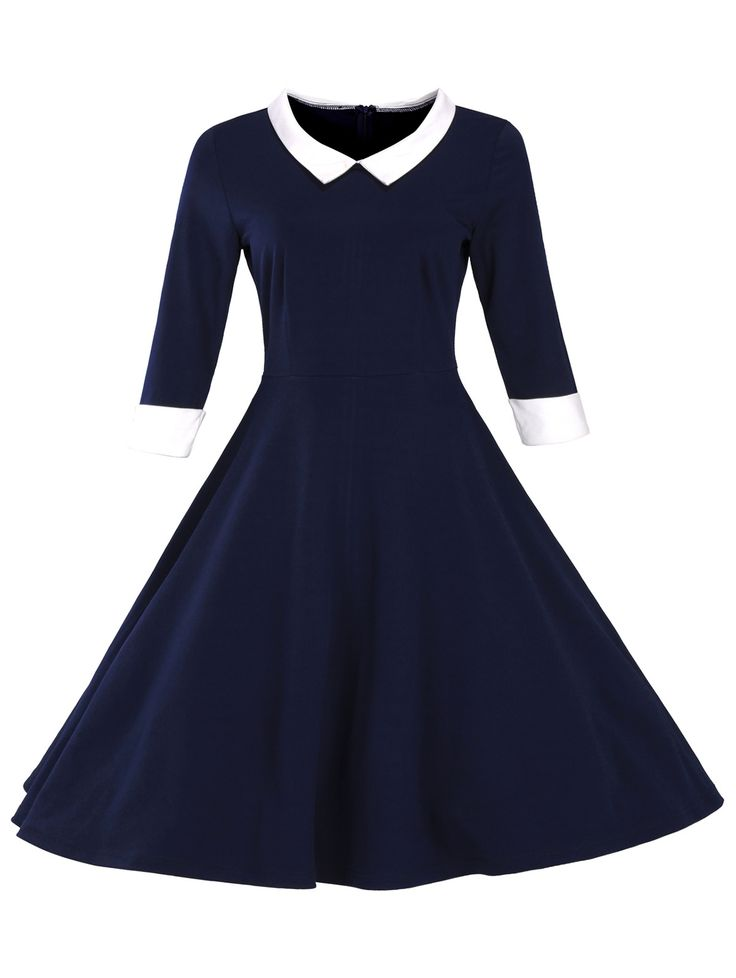 $22.91  Fit and Flare Color Block Vintage Dress