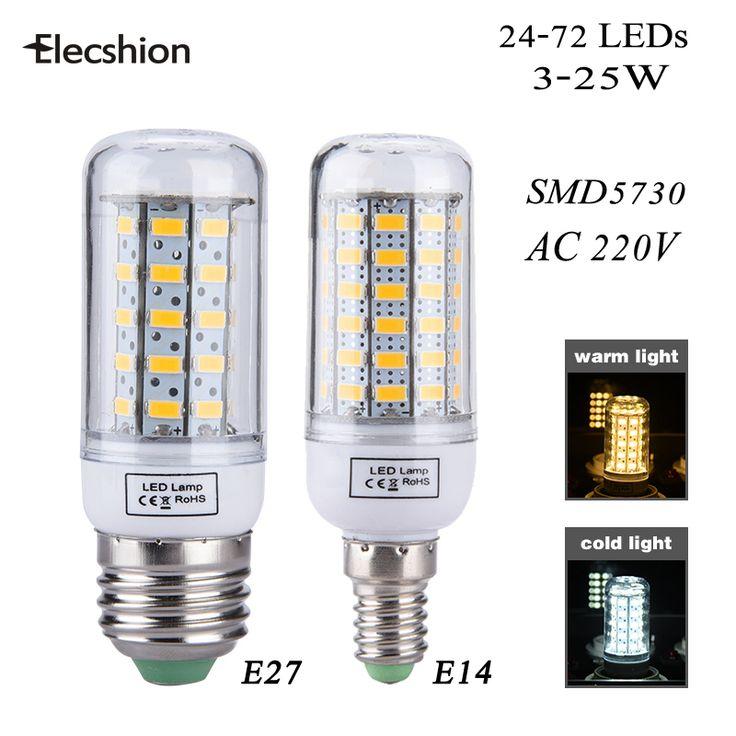 אור המנורה led E27 E14 Dimmable ולא dimmable SMD5730 3 W 5 W 7 W 12 W 15 W 20 W 25 W 220 V led תירס נברשת נרות זרקור