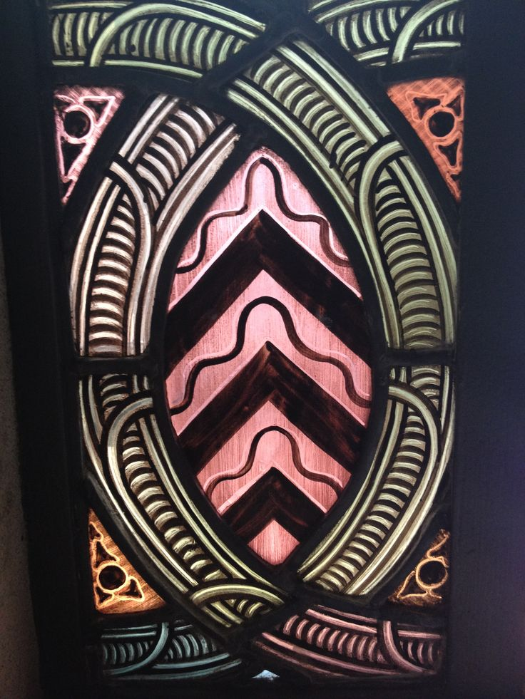 Stained glass. Maori patterns. Early 20th Century.