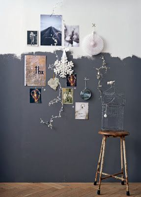 Méchant Design #styling #interiors #home_decor I love the idea of painting up halfway up the wall