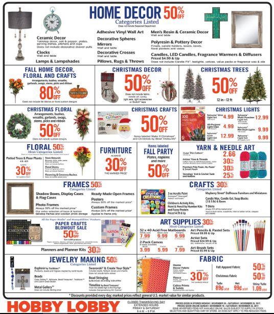 Hobby Lobby Weekly Ad  Nov 20 - 25, 2017