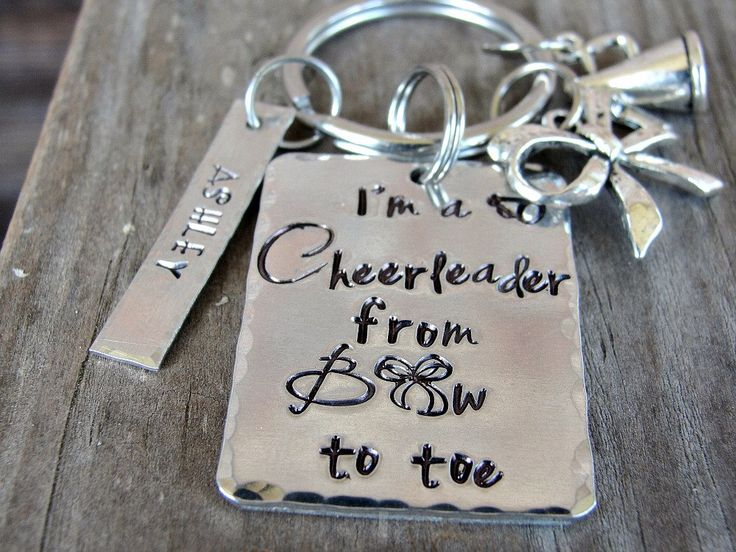 Cheerleading Gifts, Cheerleader Gifts, Personalized Cheerleader Key Chain, Cheerleader From Bow To Toe, Hand Stamped Key Chain by JLWhiddonDesigns on Etsy https://www.etsy.com/listing/182316594/cheerleading-gifts-cheerleader-gifts