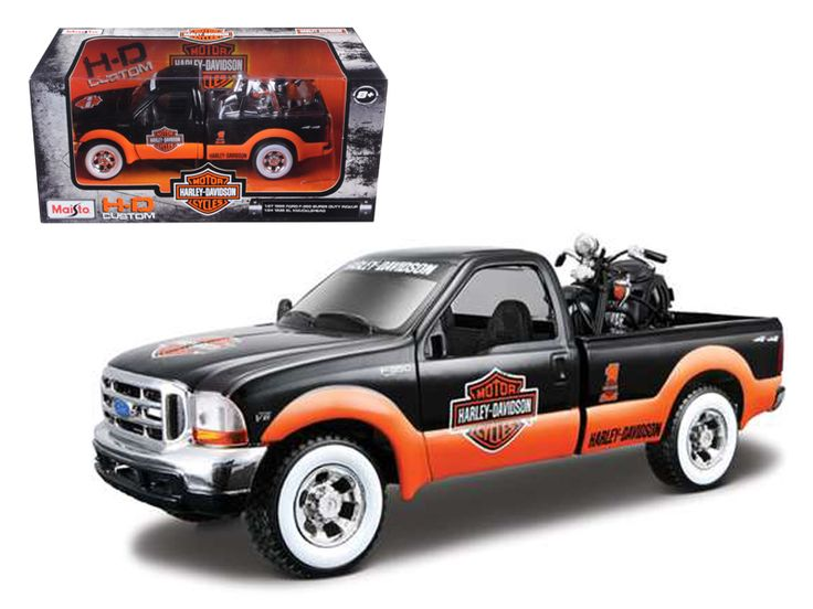 1999 Ford F-350 Pickup Truck With Harley Davidson 1936 El Knucklehead Motorcycle 1/24 Orange/Black & White Wheels by Maisto - Brand new 1:27 scale diecast car model of 1999 Ford F-350 Pickup Truck With Harley Davidson 1936 El Knucklehead Motorcycle 1/24 Orange/Black & White Wheels by Maisto. Brand new box. Rubber tires. Has opening doors and rear gate. Made of diecast with some plastic parts. Detailed interior and exterior. Dimensions approximately L-8, W-2.5, H-2.25 inches. Please note that…