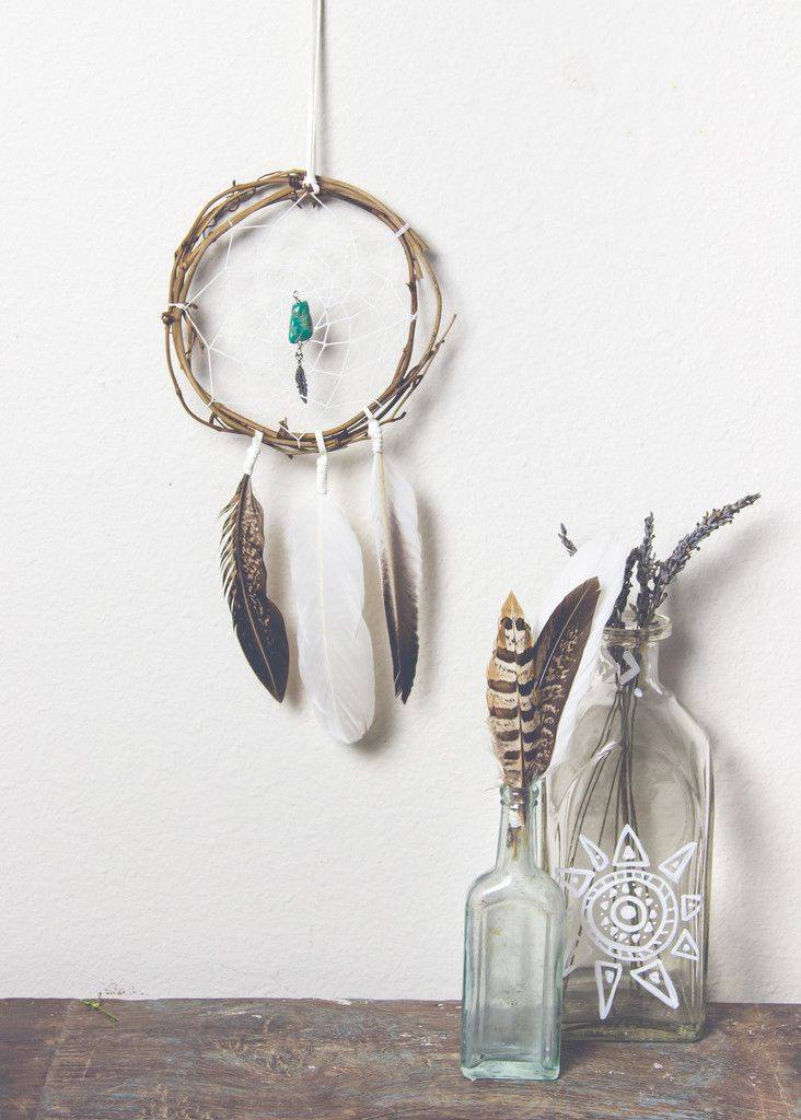Image of wooden dream catcher with feathers by SoulMakes