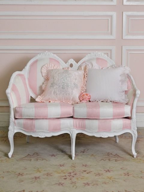 Oh this chair!! I have a thing for stripes & I'm in love with this Shabby Chic/ Princess settee! Pink & white stripe