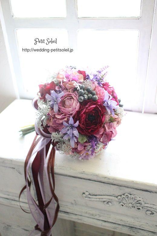 紫のブーケ 造花のクラッチブーケ アーティフィシャルフラワー パープルブーケ