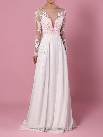 4eed026a84c A-line Scoop Neck Chiffon Tulle Sweep Train Appliques Lace Wedding Dresses   225.99