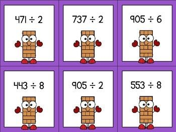 3 by 1 Division Timber Blocks (Jenga Based OR Board Based Math Game)