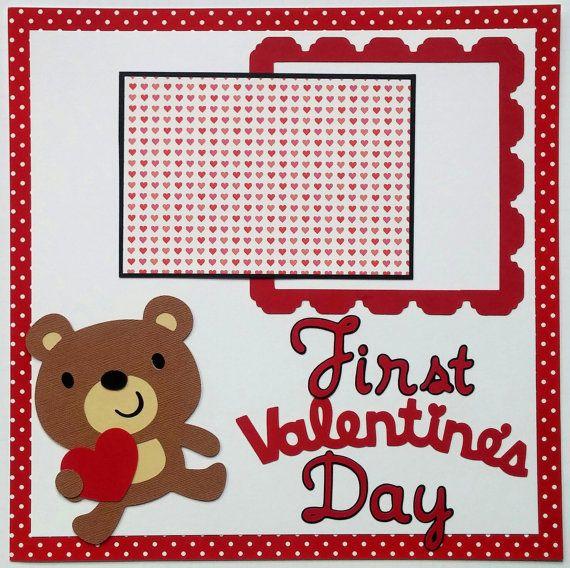 Babys first Valentines Day – Babys scrapbook page – Babys first Valentines Day scrapbook – Babys premade scrapbook – Scrapbook for baby