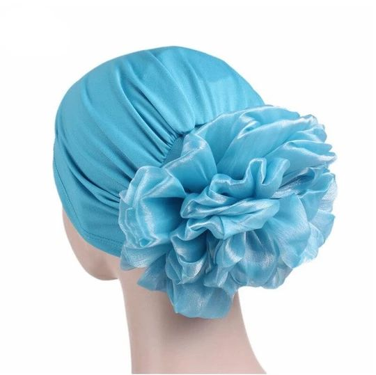New Woman Big Flower Turban Hats Elastic Cloth Head Cap Hat Chemo Beanie Ladies Hair Accessories Muslim Scarf Cap for Hair Loss – Skullies & Beanies