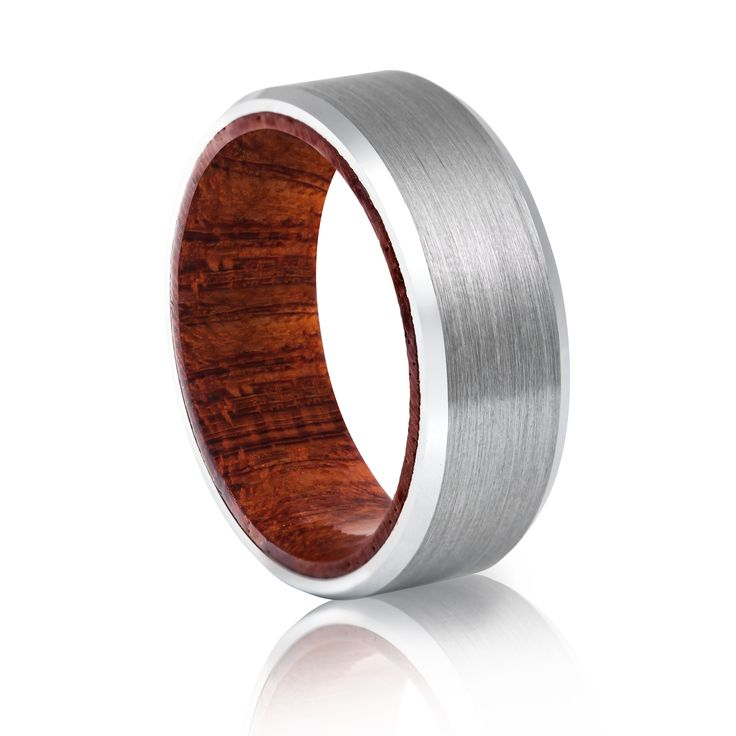 TUR 705 -8mm Men's Tungsten Carbide Wedding Ring. Brushed metal finish with Koi wooden inlay.