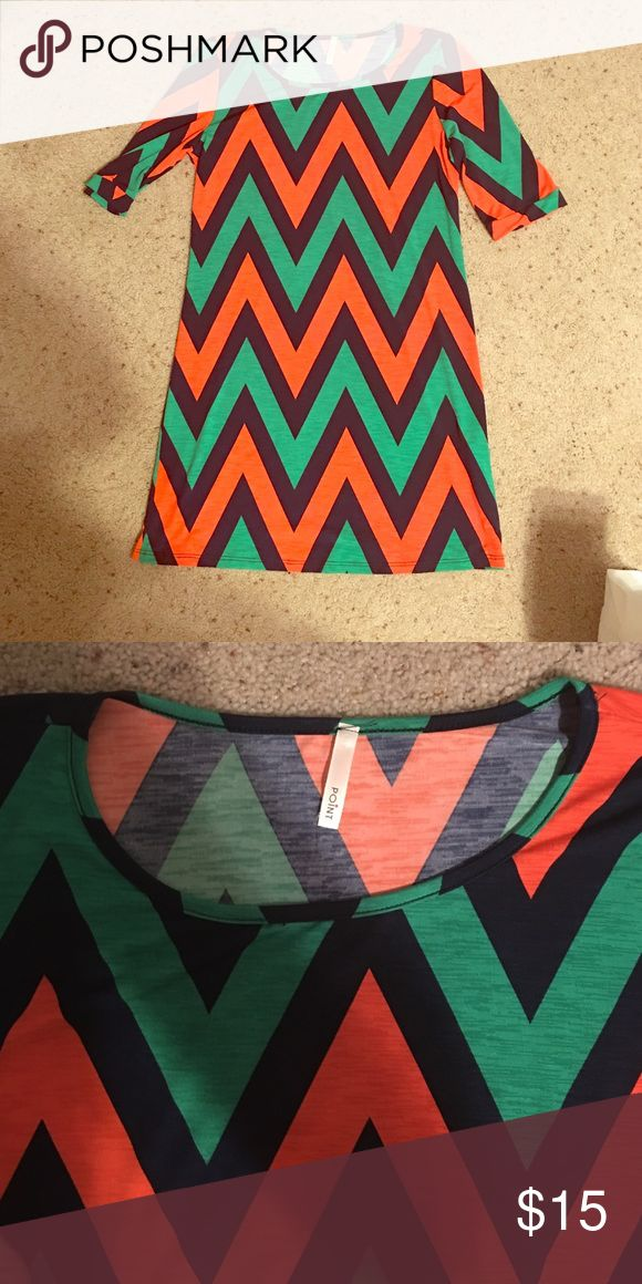 Chevron Dress Green, Orange, and Navy Chevron dress. Short sleeves. Fits like a small. Worn only one time. In great condition! Comes from a clean, smoke-free, pet-free home. Dresses