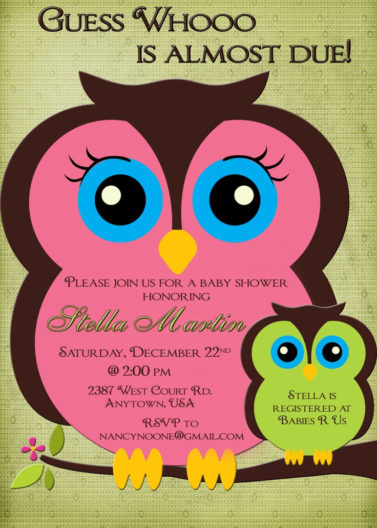 owl baby shower invitation boy or girl pink and green mom and baby owl