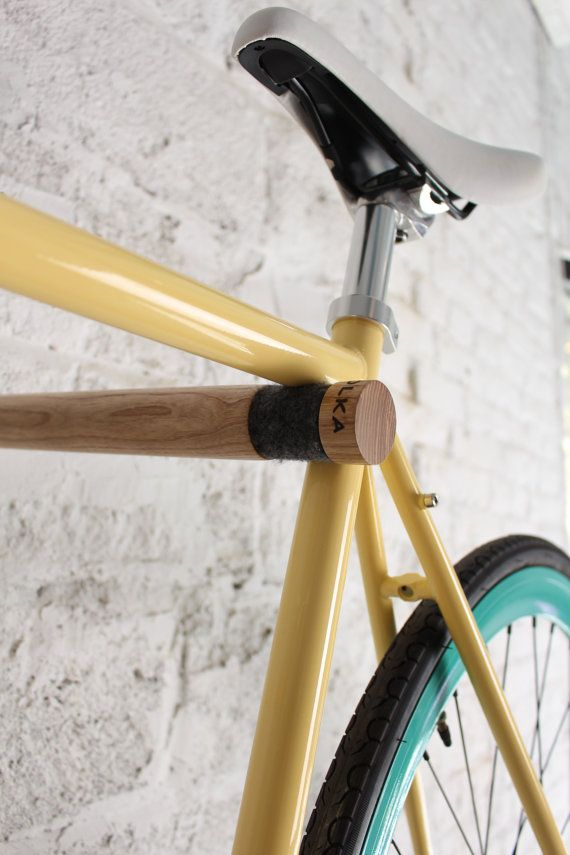 Copenhagen  wooden bicycle rack/ Minimalist bike hook by twonee