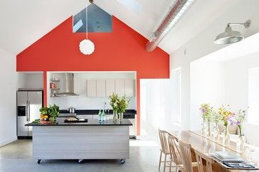 Pop of color. Passive House Retreat - modern - kitchen - providence - ZeroEnergy Design