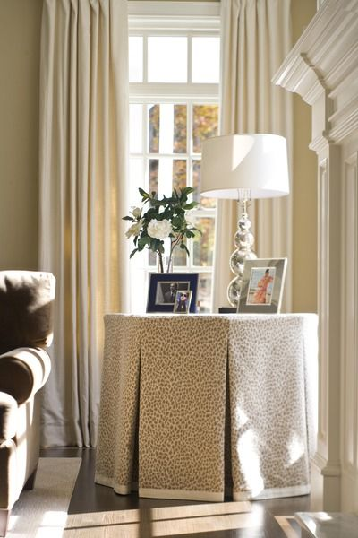 Skirted Table with Inverted Pleats | M. Frederick - Residential Interiors