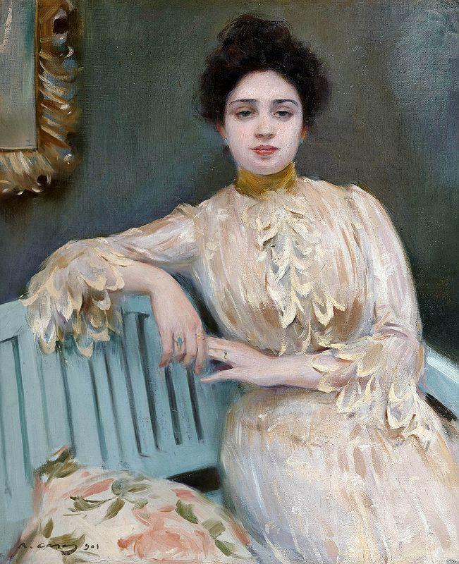 Portrait of Mercedes Llorach   by Ramon Casas