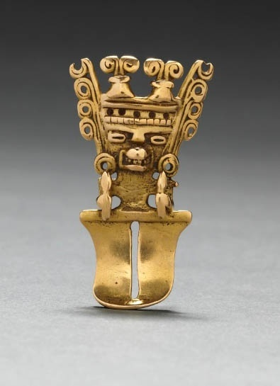 Colombia | Figurine Pendant, Quimbaya or Yotoco style | Cast gold | 5th-10th Century