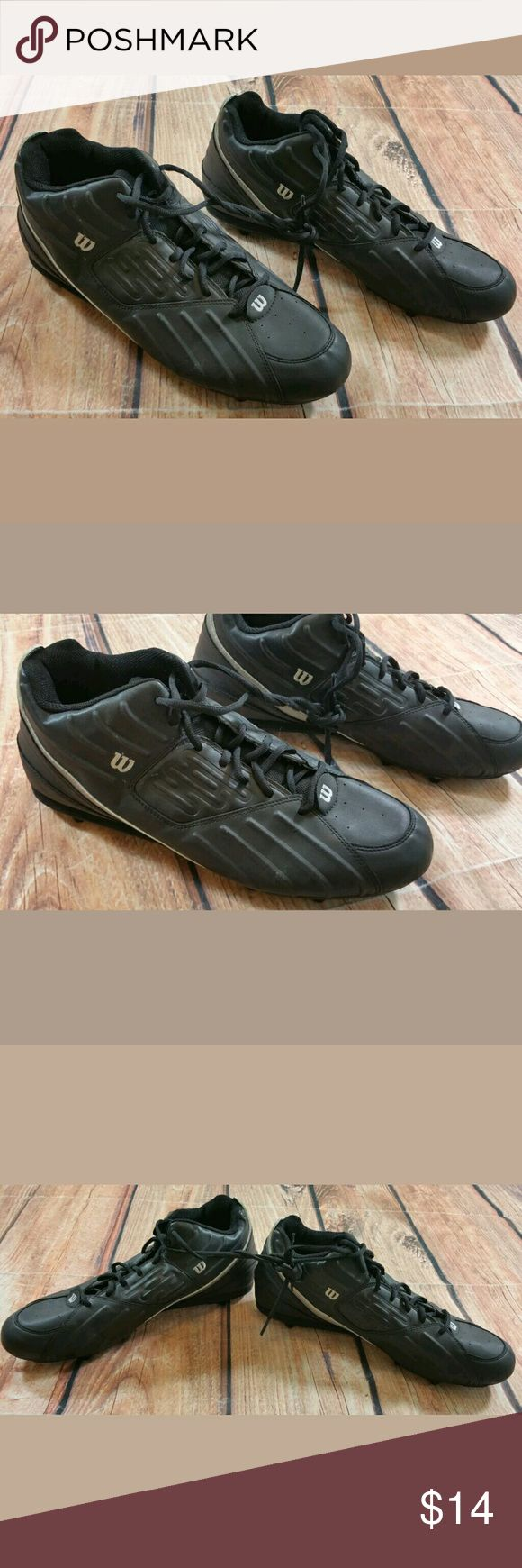 Wilsons Black Football Cleats Mens Size 14 Wilsons Black Football Cleats Mens Size 14 Condition:  Great Pre-owned condition from clean pet/smoke free home. Wilson Shoes Athletic Shoes