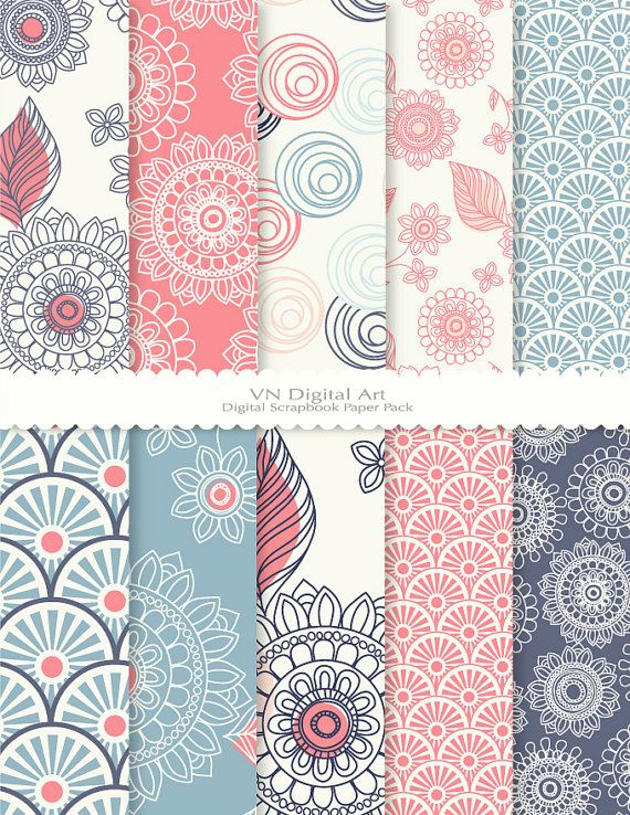"Doodle Flower Digital Scrapbook Paper Pack (8.5x11""-300 dpi) -- Instant Download -- 10 Digital papers -- 354"