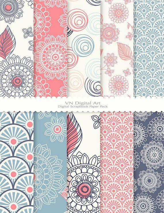 [Doodle Flower Digital Scrapbook Paper Pack by VNdigitalart on Etsy, $3.00]
