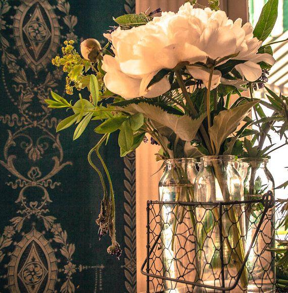 White flower in green glass, Shabby chic,  Fine Art by garcisssa, $10.00