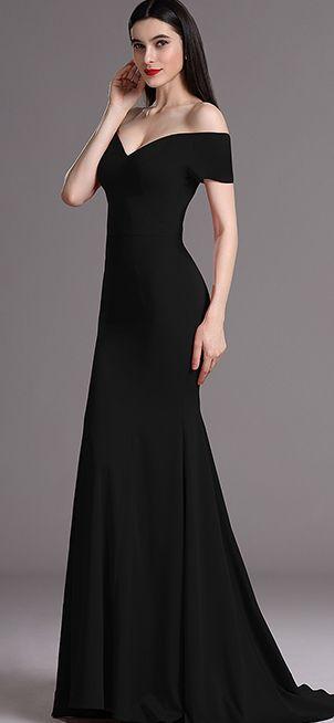 eDressit Elegant Black Off Shoulder Mermaid Formal Dress