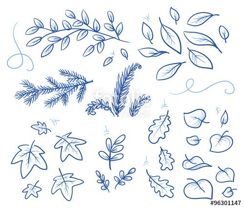 """Laden Sie den lizenzfreien Vektor """"Set of different leaves and branches. Hand drawn vector illustration."""" von danielabarreto zum günstigen Preis auf Fotolia.com herunter. Stöbern Sie in unserer Bilddatenbank und finden Sie schnell das perfekte Stockbild für Ihr Marketing-Projekt!"""