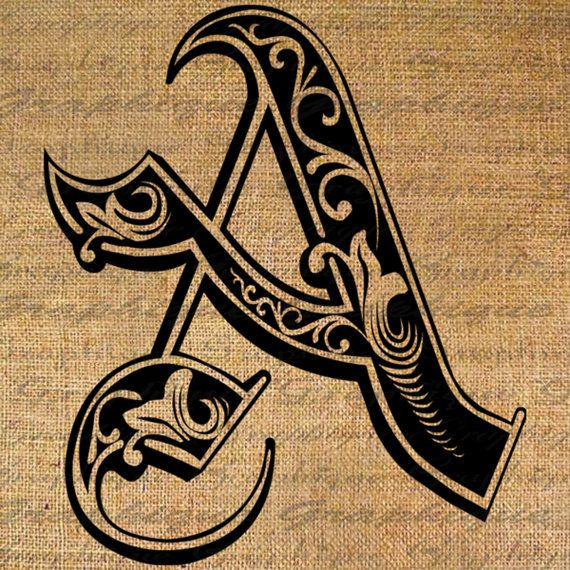 LETTER Initial A Monogram Old ENGRAVING Style Type by Graphique, $1.00