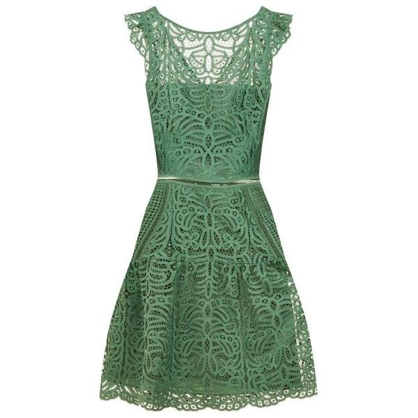Reiss Herrera Lace Dress ($315) ❤ liked on Polyvore featuring dresses, cap sleeve cocktail dress, lace cap sleeve dress, flare dress, green lace dress and flared dresses
