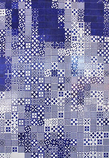Carreaux de ciment Variation bleue