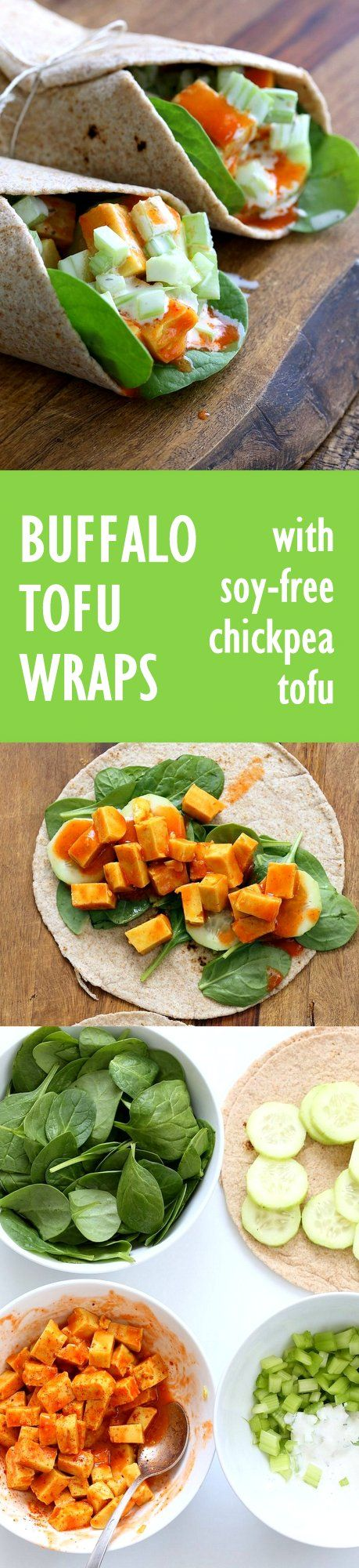 Buffalo Tofu wrap with Chickpea Tofu. Soy-free Chickpea flour Tofu tossed in buffalo hot sauce, layered with celery, spinach, cucumbers and vegan ranch.