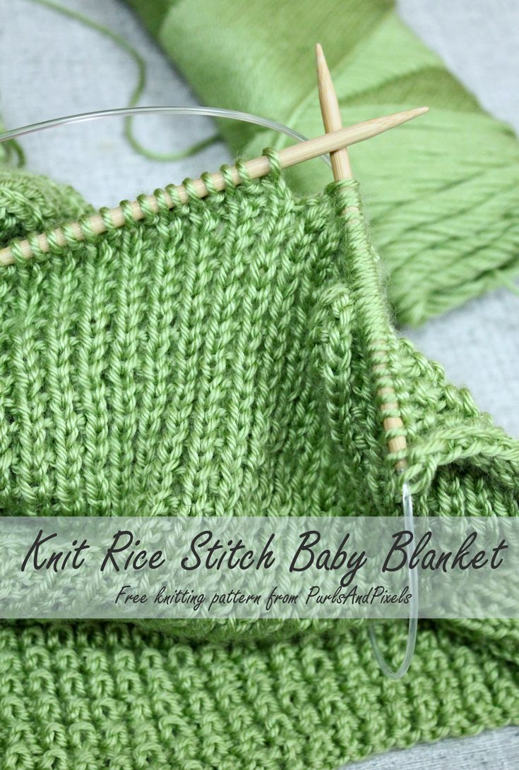 Free baby blanket knitting pattern, Rice stitch blanket from PurlsAndPixels