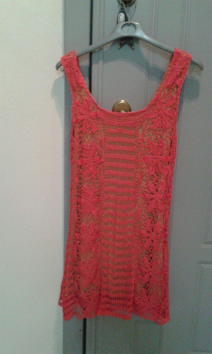 Βελονακι φορεμα  με χαμομηλια