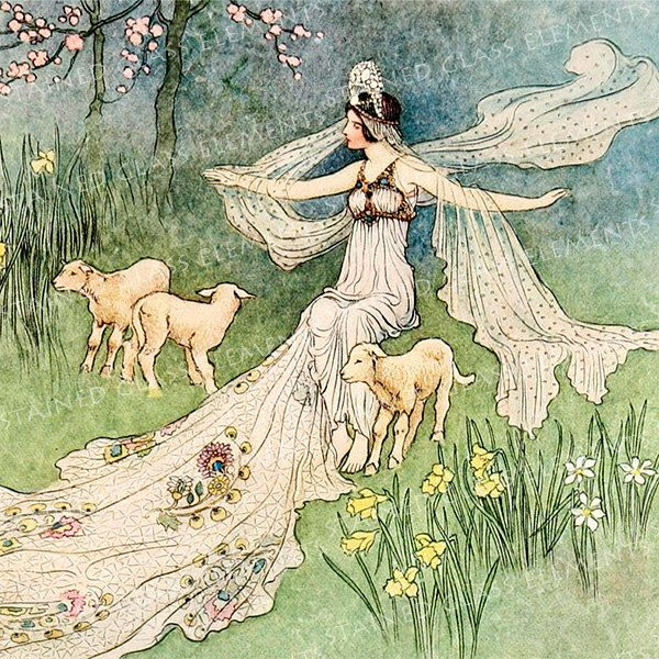 Warwick Goble ceramic decal, 10 x 10cm (3.94 x 3.94 inch), firing temperature 760-850 ºC (1400-1562 ºF), spring maiden ceramic decal, lamb by StainedGlassElements on Etsy https://www.etsy.com/au/listing/226227297/warwick-goble-ceramic-decal-10-x-10cm