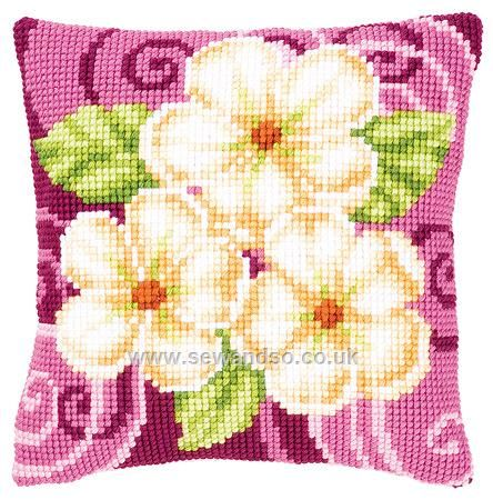 Buy Cream Flowers Cushion Front Chunky Cross Stitch Kit online at sewandso.co.uk