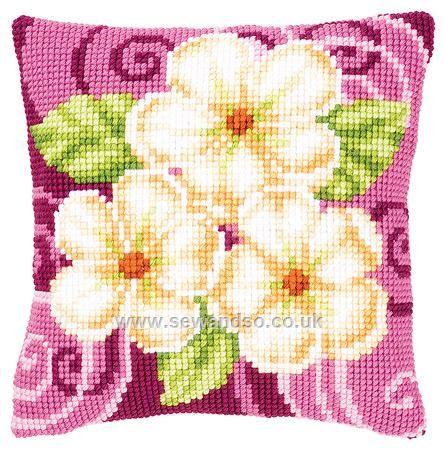Buy Cream Flowers Cushion Front Chunky Cross Stitch Kit online at sewandso.co.uk