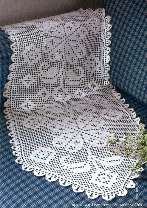 Filet Crochet runner - see free chart | Crochet Doilies ...