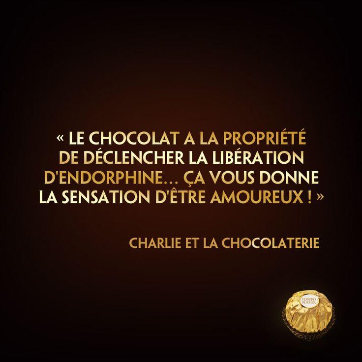 Le #chocolat a la propriété de déclencher la libération d'endorphine... ça vous donne la sensation d'être amoureux ! Charlie et la Chocolaterie