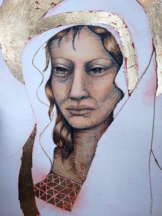 "Artist (Elmari) - Work in progress - participating to the ""create a small icon"" course at Tresillian Art Center. Tutor G. D. Cani - 2015"