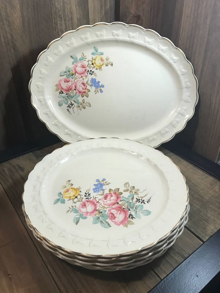 Vintage 1940's Taylor Smith Taylor 7 Piece Set - 1 Platter And 6 Dinner Plates - Floral Pattern - Pink Yellow Blue Flowers - Bridal Shower by StaceysHutch on Etsy