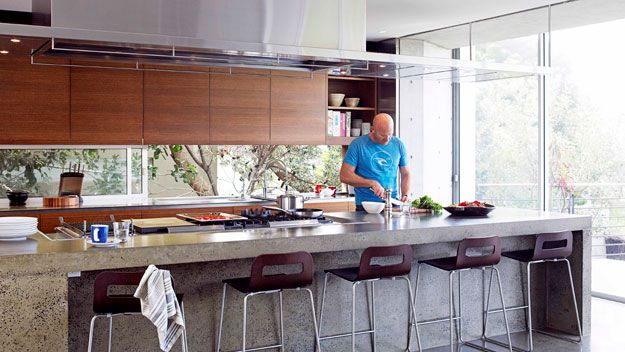 Matt Moran's kitchen - love the massive workbench and colours. Great use of light with window as splashback. Noice